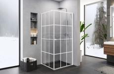 NEW TRENDY Kabina prysznicowa biała krata SUPERIA WHITE 90x90 drzwi pojedyncze
