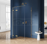 NEW TRENDY - Kabina prysznicowa prostokątna AVEXA GOLD EXK-1734/35 Złote Profile 80x100x200