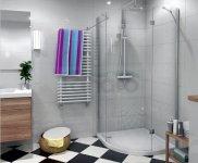 DURASAN - Kabina prysznicowa półokrągła LIVORNO ND 90 pojedyncze drzwi uchylne z powłoką NANO GLASS