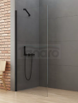NEW TRENDY Kabina ścianka prysznicowa walk-in 100x195 wspornik skośny profil czarny K-0770