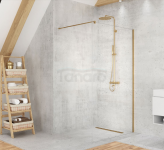 NEW TRENDY Kabina ścianka prysznicowa walk-in VELIO SATIN GOLD 120x200 8mm D-0192B