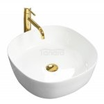 REA Zestaw komplet umywalka ELENA WHITE z baterią SENTO L.GOLD i klik-klakiem L.GOLD NOWOŚĆ