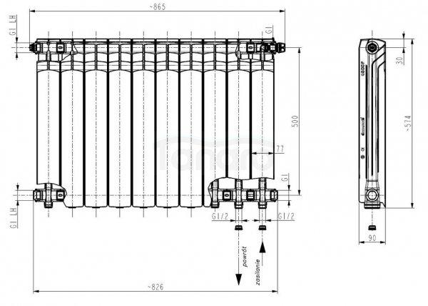 ARMATURA KRAKÓW - Grzejnik aluminiowy G 500 F/D z podłączeniem dolnym 789-101-44