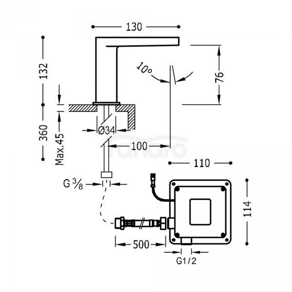 TRES - Bateria bezdotykowa SLIM-TRES Elektroniczna jednostrumieniowa 20261301