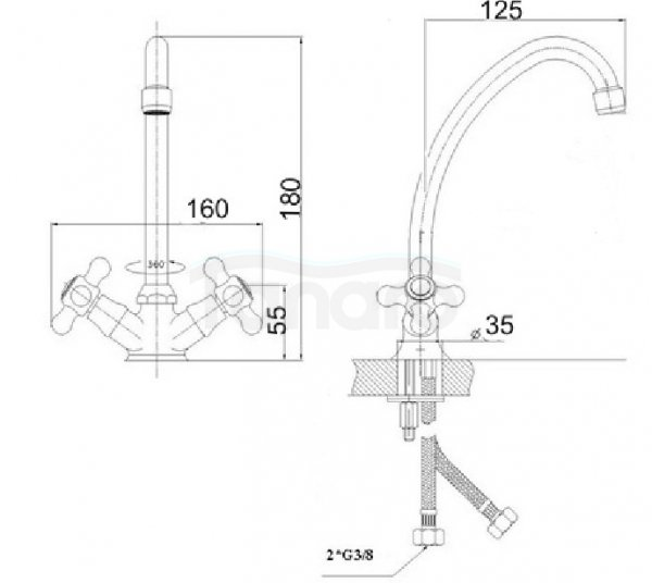 REA -  Bateria kuchenna / umywalkowa RETRO 901-143