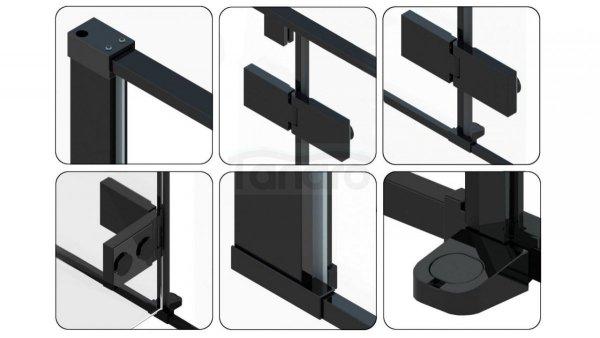 REA - Kabina prysznicowa FARGO 80X100 BLACK MAT (PRAWA)