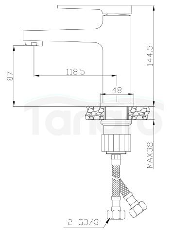 INVENA - Bateria Umywalkowa MIDNIGHT Black/Gold Rose  Czarny/Rożowe Złoto BU-35-014-V
