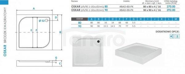 BESCO - Brodzik akrylowy 80 x 80  OSKAR 16cm