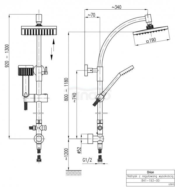 ARMATURA KRAKÓW - Zestaw natryskowy deszczownia ORION do baterii natryskowych 841-193-00