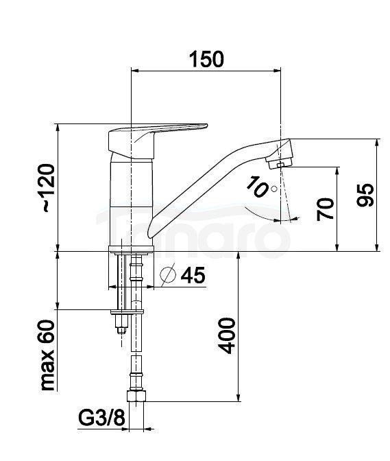 ARMATURA KRAKÓW - Bateria jednouchwytowa umywalkowa stojąca z obrotową wylewką GERMAN 4512-915-00