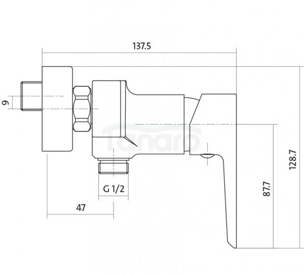 CERSANIT - Bateria natryskowa ścienna MILLE BLACK Solution S951-034