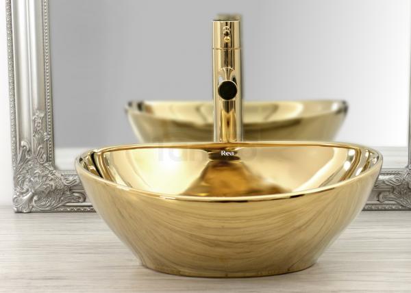 REA - Bateria umywalkowa stojąca wysoka TESS HIGH GOLD Złota