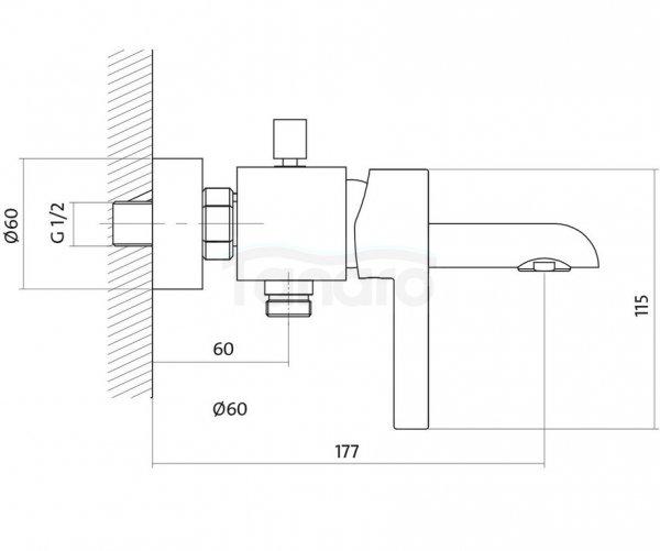 CERSANIT - Bateria wannowo-natryskowa ścienna z przełącznikiem LUVIO DESIGN S951-012