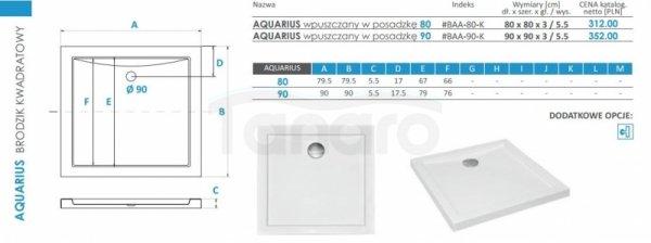 PIRAMIDA - Brodzik akrylowy 90 x 90 x 3 cm 5,5 cm AQUARIUS