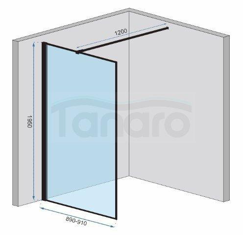 REA - Ścianka prysznicowa BLER-2 black/czarna 80-120cm