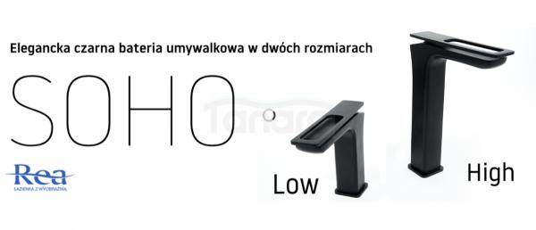 REA - Bateria umywalkowa czarna black SOHO niska