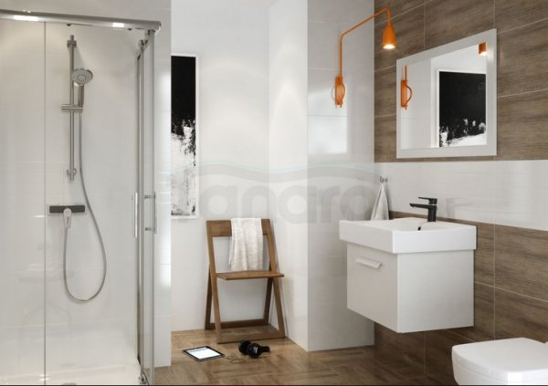 CERSANIT - Bateria umywalkowa stojąca z korkiem MILLE BLACK Solution S951-048