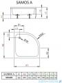 Radaway Samos A Brodzik półokrągły 90x90 bez obudowy 4S99300-03B