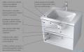 Oristo Base szafka z umywalką 60x50x45cm biały połysk OR48-SD2S-60-1/UME-BA-60-91
