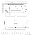 Besco Vista wanna 150x75cm wolnostojąca przyścienna z syfonem #WKV-150-WS