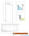 Radaway Idea Black Pnj parawan nawannowy 50cm L/P przejrzyste rysunek techniczny