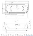 Besco Vista wanna 170x75cm wolnostojąca przyścienna z syfonem #WKV-170-WS