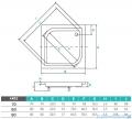 Piramida Ares Brodzik 90x90x15/25 kwadratowy głęboki #BAA-90-KW