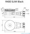 Radaway syfon brodzikowy niski 90mm czarny R400B SLIM