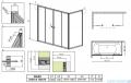 Radaway Vesta DWD+S Parawan nawannowy 140x70cm szkło fabric 203140-06/204070-06