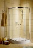 Radaway Classic A Kabina prysznicowa półokrągła z drzwiami przesuwnymi 80x80x185 szkło satinato profile białe 30010-04-02