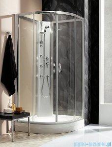 Quattra Radaway Kabina półokrągła 925×925 szkło grafitowe, przejrzyste + brodzik + panel 33003-01-05N,33103-01-01N