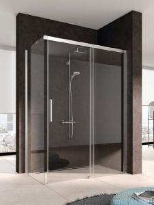 Kermi Nica Ściana boczna lewa, szkło przezroczyste, profile srebrne 80cm NITWL08020VPK