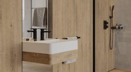 Modne kolory w łazience białe, złote i czarne