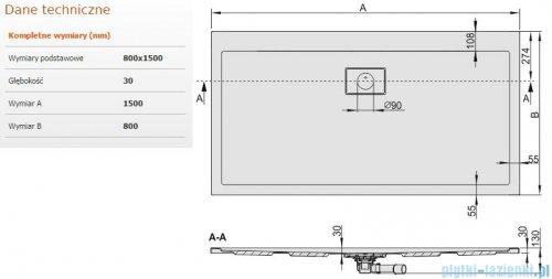 Sanplast Space Line brodzik prostokątny 150x80x3cm+syfon 615-110-0270-01-000