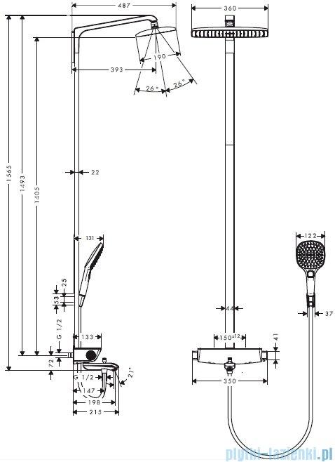 Hansgrohe Komplet prysznicowy Raindance Select E 360 1jet do wanny DN15 biały/chrom 27113400