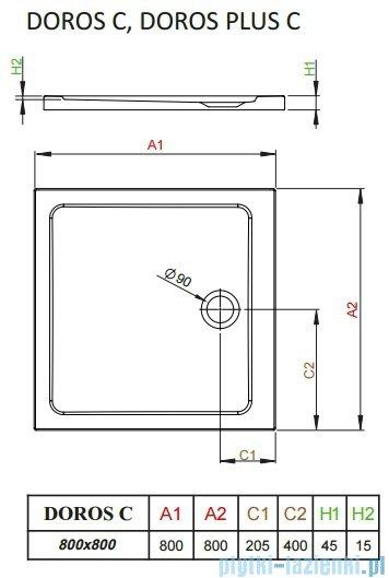 Radaway Arta Kdj II kabina 80x80cm prawa szkło przejrzyste + brodzik Doros C + syfon