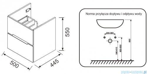 rysunek techniczny Oristo Silver szafka z umywalką 50x55x44cm szary mat OR33-SD2S-50-4/UME-SI-50-92