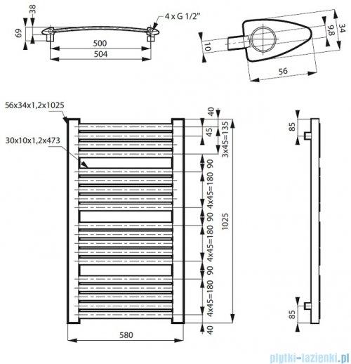 Massi Garama grzejnik łazienkowy 100x60 cm biały połysk MSG-GAR10060CB