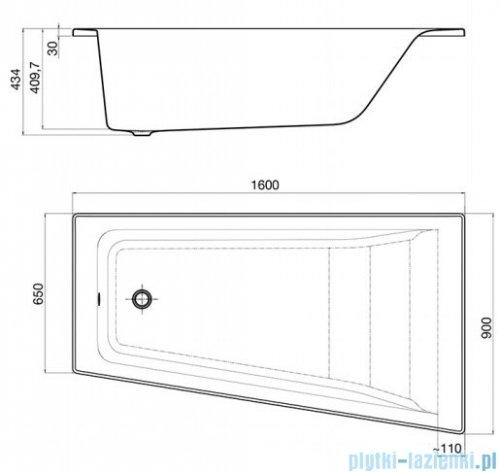 Roca Easy wanna 160x90cm prawa z hydromasażem Effects Titanium rysunek techniczny