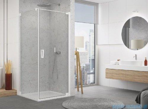 SanSwiss Cadura White Line drzwi wahadłowe 90cm jednoczęściowe prawe z profilem przyściennym biały mat CA1CD0900907