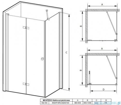 Massi Montero kabina prostokątna bifold 90x100x190cm przejrzyste MSKP-MN-00290100