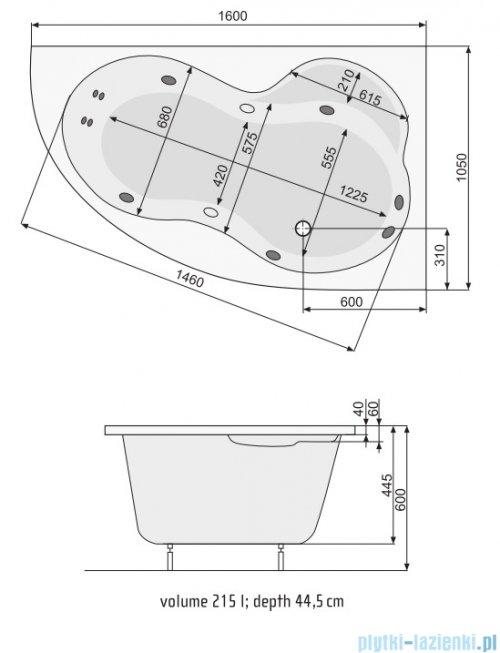 Poolspa Wanna asymetryczna MISTRAL 160x105 prawa + hydromasaż Smart 2 PHA6F10ST2C0000