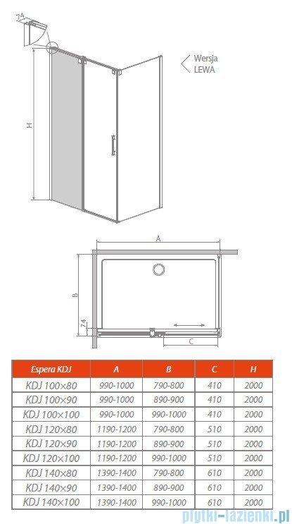 Radaway Espera KDJ Mirror kabina prysznicowa 140x90 lewa szkło przejrzyste 380695-01L/380234-71L/380149-01R