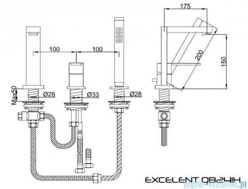 Kohlman Excelent 3-otworowa bateria wannowa z mieszaczem QB241H