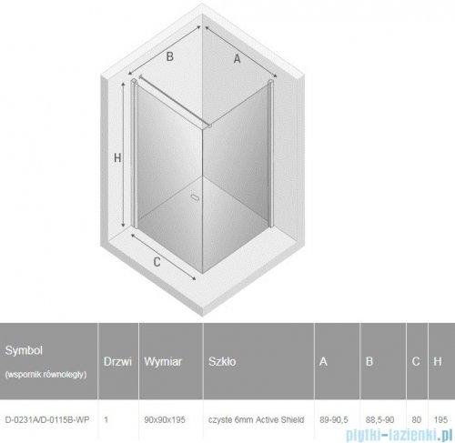 New Trendy New Soleo Black 90x90x195 cm kabina kwadratowa wspornik równoległy przejrzyste D-0231A/D-0115B-WP