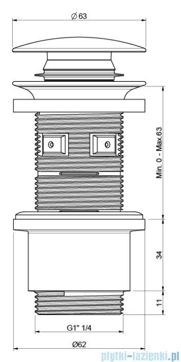 Excellent korek klik-klak do syfonu umywalkowego czarny mat ARIN.1485.01BL