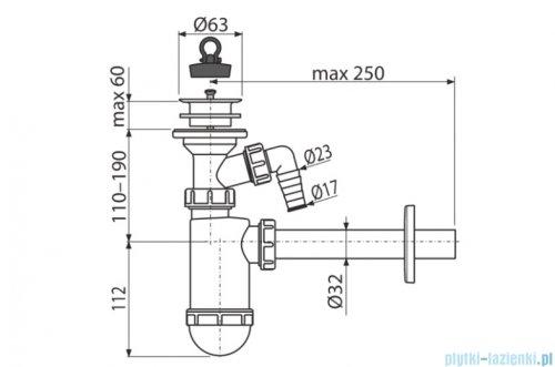 Alcaplast syfon umywalkowy DN32 z przyłączem, sitko z tworzywa DN63 A420P
