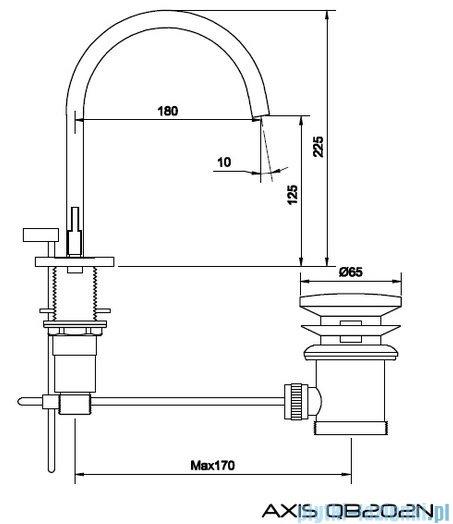 Kohlman Axis 3-otworowa bateria umywalkowa rysunek techniczny