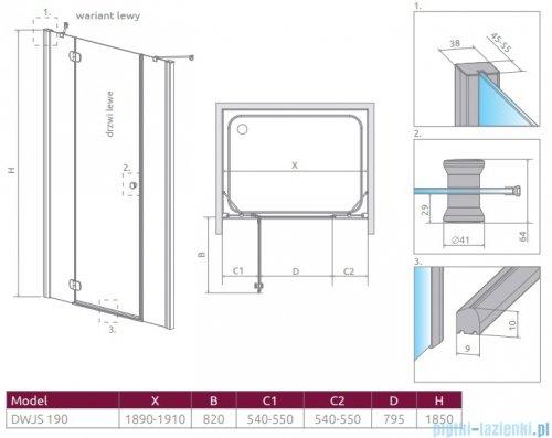 Radaway Torrenta Dwjs drzwi wnękowe 190 lewe szkło przejrzyste 320812-01-01L/320493-01-01