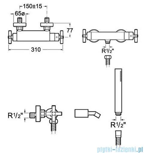 Roca Loft Bateria natryskowa termostayczna ścienna A5A1343C00